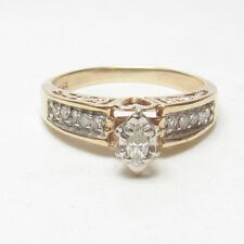 Estate 10K Yellow Gold 0.10 Ct Marquise Cut Diamond Ring 0.25 Cts Total