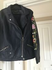 Ladies Navy PU Biker Jacket with Embroidered Sleeves- size 12 New