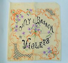 "Atq ""Only a Breath of Violets"" Victorian hand-sewn embroidered pillow case cover"