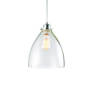 ENDON ELSTOW 60W E27/B22 Non Electric Clear Glass & Chrome -SHADE ONLY 60874