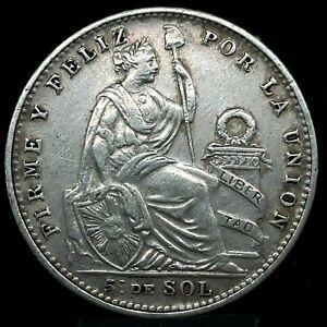 PERU 1916 FG 1/5 SOL DDO/DDR Silver Coin XF/AU EXTREMELY RARE. KM# 205.2