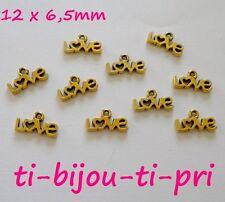 LOT de 25 petits PENDENTIFS DORE perles breloques LOVE  12x6,5mm création bijoux