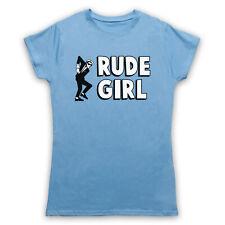RUDE GIRL JAMAICAN STREET CULTURE SLOGAN LARGE SKY BLUE WOMENS T-SHIRT