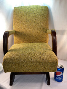 Vtg 1960-70's Yellow Gold Tweed Upholstery Goose Neck Style Child Rocking Chair