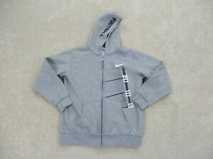 Nike Sweater Youth Extra Large Gray Swoosh Hooded Hoodie Full Zip Kids Boys B36*