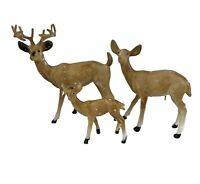 Lot 3 Vintage Plastic DEER FIGURINES Nativity Animals Buck Doe Fawn Farm Toy NEW