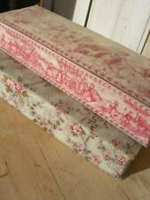2 vintage French 1920s fabric covered boudoir boxes - roses & toile