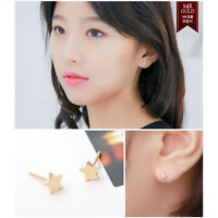 TPD 14K Solid Yellow Gold Full Star Stud a Pair of Earrings with Silicone plugs
