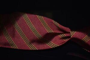 Ermenegildo Zegna Rust Orange Spice Ribbed Twill Quadruple Repp Stripe Silk Tie