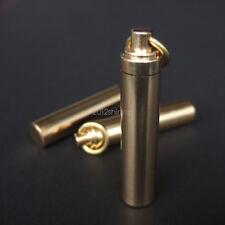 Mini Waterproof Brass Oil Lighter Fuel Canister Pill Capsule Bottle EDC Keychain