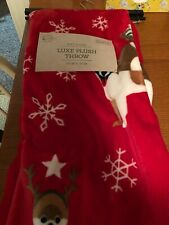 Letters To Santa Stacked Christmas Dogs Plush Throw Blanket 50 X 70 New