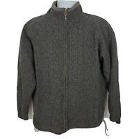 Carraig Donn Irish Cable Knit Wool Sweater Jacket Size M Gray