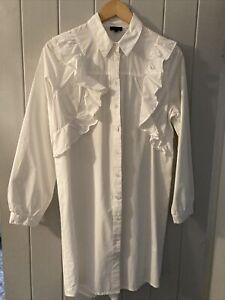 River Island Womens White Long Shirt  Size 12