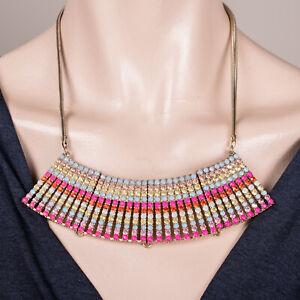 Damen Kette Gold Regenbogen Mehrfarbig Halskette Statement Collier Lagenlook