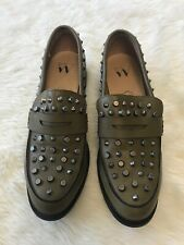 Vanessa Wu Olive Green Leather Studded Loafer Shoes Size EU 38 US 7.5