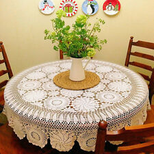 White Flower Table Cover Round Table Cloth Handmade Crochet Tablecloth 52inch