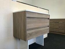 900MM BATHROOM VANITY WALNUT WOODGRAIN /SOFT CLOSING DRAWER / STONE TOP