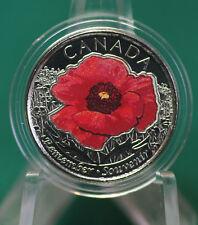 2015 Canada Special Coloured Poppy Quarter - one A1 coloured quarter from roll