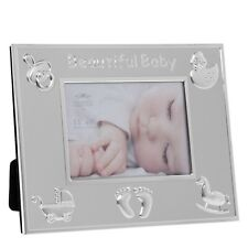 """Silver Plated Photo Frame - Embossed Detail - 5"""" x 3.5"""" - Beautiful Baby"""