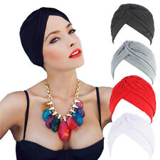 Indian Cap Muslim Turban Headband Hat Stretchable Chemo Pleated Hijab Headwrap