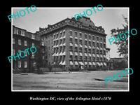 OLD POSTCARD SIZE PHOTO OF WASHINGTON DC VIEW OF ARLINGTON HOTEL c1870