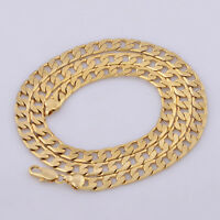 """Yellow Solid Gold Filled Cuban Chain Necklace 20"""" 7mm Thick Men's jewelry Women"""