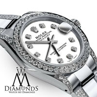 Ladies 26mm Rolex SS Oyster Perpetual Datejust Custom White Color Diamond Dial