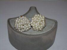 Vintage Faux Pearl Regal Stud Clip Earrings