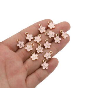 20Pcs Enamel Cherry Blossom Flower Charms Pendants 12*9mm Jewelry Earring Making