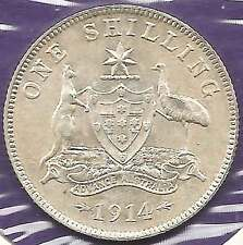 1914 KGV AUSTRALIA 1/- ONE SHILLING Sterling Silver UNCIRCULATED - see scans