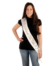 """White & Gold Bride To Be 33"""" Satin Party Sash Wedding Bridal Shower Accessory"""