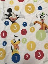 Disney Twin Sheet FLAT Numbers Circles Mickey Donald Goofy Pluto Craft Sewing