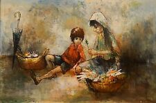 Listed Artist Armand Lourenco Oil On Canvas Signed Mother And Child Art Framed