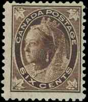 Canada #71 mint F OG H 1897 Queen Victoria 6c brown Maple Leaf CV$55.00