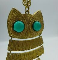 """Vintage 1960's Owl Necklace Green Bubble Eyes Articulated 18"""" Gold Plated"""