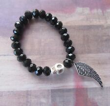 Goth Skull Beaded Stretch Bracelet with Angel Wing Charm