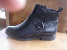 Moda In Pelle     Black Leather Ankle Boots    uk 6          biker