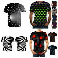 Funny Hypnosis 3D T-Shirt Men Women Colorful Print Casual Short Sleeve Tee~