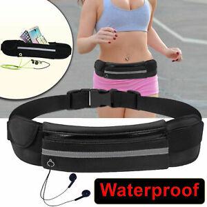 Unisex Waist Belt Bum Bag Jogging Running Travel Pouch Keys Mobile Cash Black