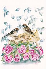 RARE With love 2 sparrows birds roses letter by Ivanova Russian modern postcard