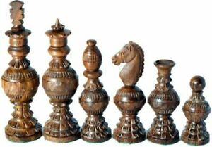 """Chess Set Hand carved King 5"""" 32 Wooden Weighted Handmade Chess Pieces"""