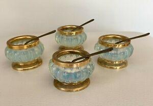 Vintage Opaline Opalescent Italian Glass Salt Cellar with Brass Rim & Base