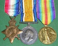 WW1 1914-15 TRIO OF MEDALS,PTE HAMILTON, 4TH NORTHUMBERLAND FUSILIERS