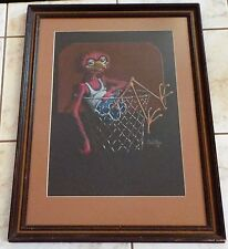 Rare Vintage Original Drawing Mel Wiken Bird In A Basketball Hoop, 1976 Signed