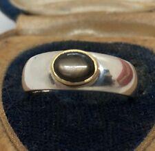 Vintage 14k Band Estate Sterling Silver Ring 925 Size 8 Black Sapphire