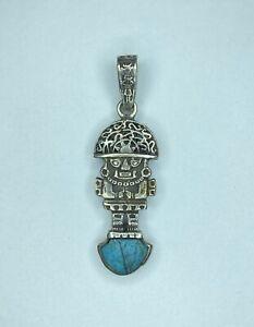 Peruvian Tumi 950 Silver Pendant Turquoise Inlay