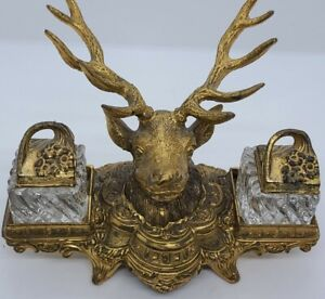 Antique 1800's German Stag Antlers Victorian Gold Gilt Cast Metal Inkwell Set