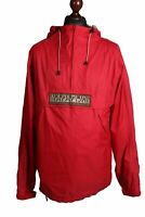 Men's NAPAPIJRI RAINFOREST Red Lightweight Windbraker Anorak Jacket Size XL