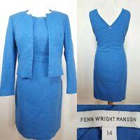 Fenn Wright Manson Royal Blue Shift Dress Jacket Size 14 Cruise Wedding Party
