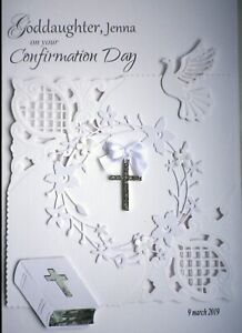 Personalised Confirmation / Sympathy / Christening Card with cross, dove & bible